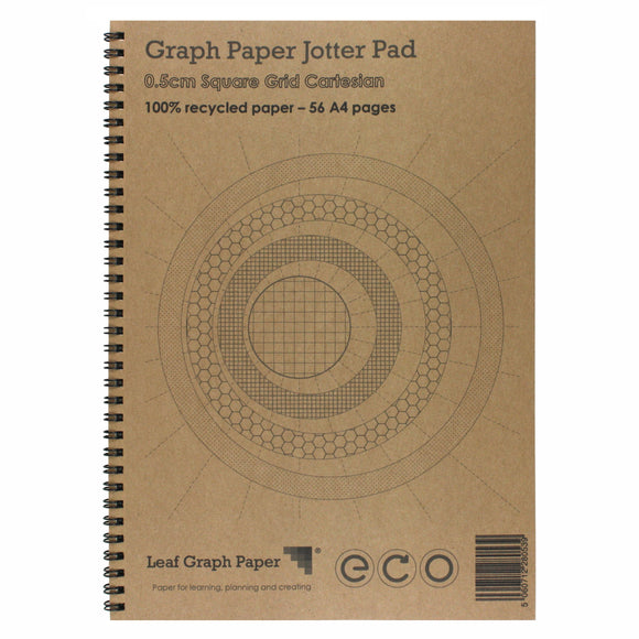 A4 Graph Paper 5mm 0.5cm Squared Cartesian, 100% Recycled Jotter Pad, 56 Pages