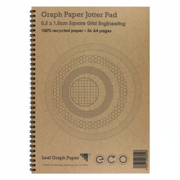A4 Graph Paper 5mm 0.5cm Squared Engineering, 100% Recycled Jotter Pad, 56 Pages