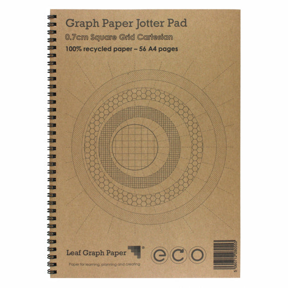 A4 Graph Paper 7mm 0.7cm Squared Cartesian, 100% Recycled Jotter Pad, 56 Pages