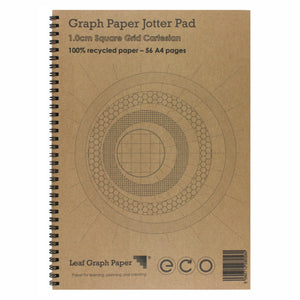 A4 Graph Paper 10mm 1.0cm Squared Cartesian, 100% Recycled Jotter Pad, 56 Pages