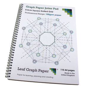 5mm 0.5cm Square Dotted Grid Jotter Pad, 110 A4 pages 100gsm, Frosted Covers