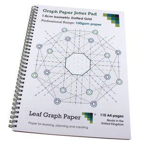 10mm 1.0cm Isometric Dotted Grid Jotter Pad, 110 A4 pages 100gsm, Frosted Covers