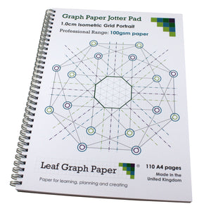 Isometric Graph Paper Jotter Pad 10mm 1.0cm, 110 A4 pages, Frosted Covers, 100gsm Paper