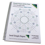 Hexagon Graph Paper Jotter Pad 10mm 1.0cm, 110 A4 pages, Frosted Covers, 100gsm Paper