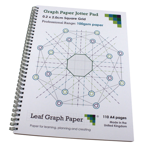 2mm 0.2cm Squared Graph Paper Jotter, 110 A4 pages, Frosted Covers, 100gsm Paper