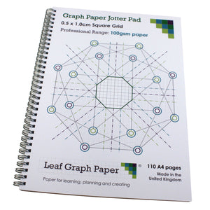 5mm 0.5cm Squared Graph Paper Jotter, 110 A4 pages, Frosted Covers, 100gsm Paper