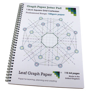 10mm 1.0cm Squared Graph Paper Jotter, 110 A4 pages, Frosted Covers, 100gsm Paper