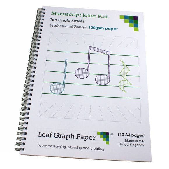 A4 Manuscript Music Paper Single Stave Staff, 110 Page Jotter, 100gsm Paper