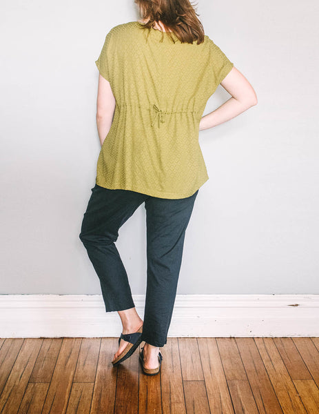 Back, loose fit Gather Sac Top by Pekho, in green diamond weave rayon.