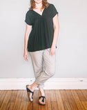 Front, loose fit Gather Sac Top by Pekho, in black diamond weave rayon.