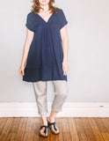 Front, Gather Sac Dress by Pekho, in blue, diamond weave rayon fabric.