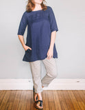 Front, Boat Neck Tunic by Pekho, in blue, 100% linen fabric.