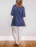 Back, Boat Neck Tunic by Pekho, in blue, 100% linen fabric.