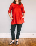 Front, Boat Neck Tunic by Pekho, in red, 100% linen fabric.