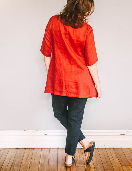 Back, Boat Neck Tunic by Pekho, in red, 100% linen fabric.