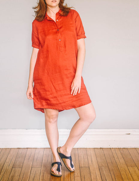 Front, Shirt Dress Linen by Pekho in red, 100% linen.