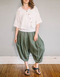 Front, Crop Shirt by Pekho, in white, cotton/linen blend gauze.