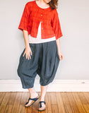 Front, Crop Shirt by Pekho, in red, cotton/linen blend gauze.