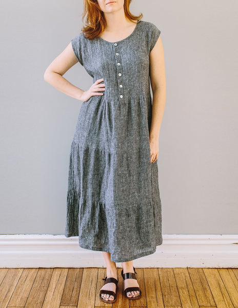 Front, Tier Dress with button front by Pekho, in black/white 100% linen.