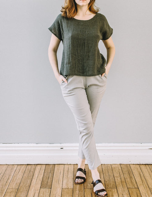 Front, Basic Narrow Pant by Pekho, in sand, linen/rayon blend fabric.