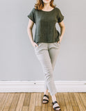 Front, loose fit Short Sleeve Magyar Top by Pekho, in khaki 100% linen.