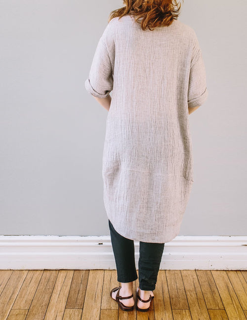 Back, loose fit Avignon Dress by Pekho, in oatmeal, 100%  linen fabric.