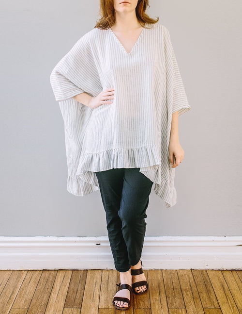 Front, oversized Frill Top by Pekho, in off-white with khaki stripe, 100% linen.