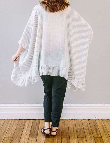 Back, oversized Frill Top by Pekho, in off-white with khaki stripe, 100% linen.