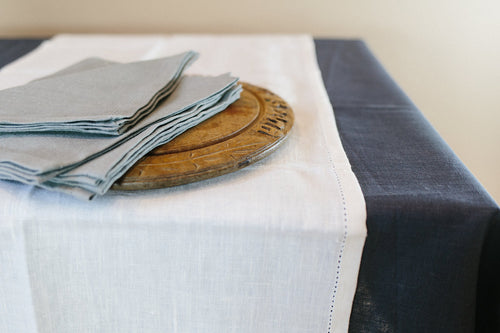 Classic Table Runner available from Pekho, in white softened linen.