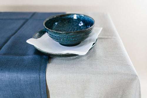 Modern Classic Tablecloth available from Pekho, in white linen.