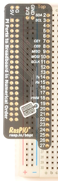 RasPiO Breadboard Pi Bridge showing breadboard attachment points