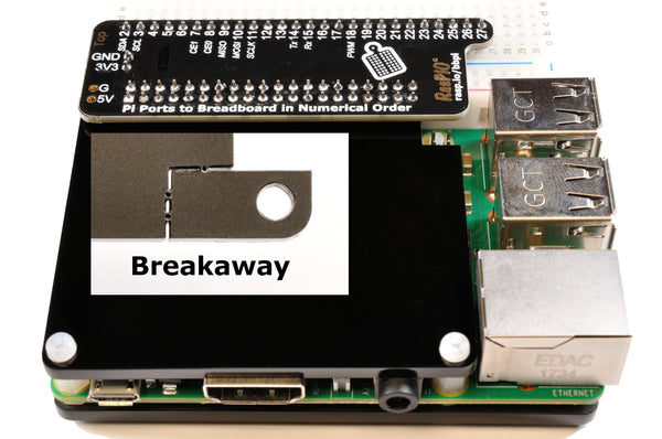 RasPiO Breadboard Pi with cover showing breakaway as inset