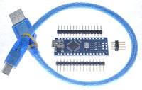 Arduino nano clone ATMEGA328p kit with mini-USB to USBA cable