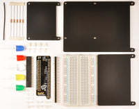 RasPiO Breadboard Pi Bridge (BBPi) kit contents. Connect all Pi ports to breadboard in numerical order