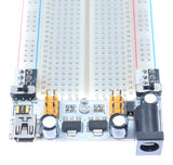 Breadboard power supply barrel jack 7-12V input 3.3/5V outputs on breadboard 1