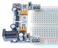 Breadboard power supply barrel jack 7-12V input 3.3/5V outputs on breadboard 2