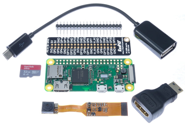 Pi Zero W bundle with camera 32GB uSD card header adaptors port labeller