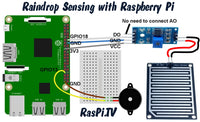 Raindrop sensing and alert kit - lets you know when it rains - circuit diagram with raspberry pi