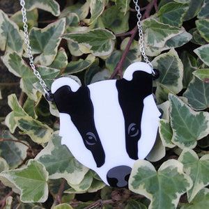 Badger necklace - laser cut acrylic