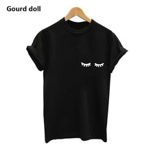Load image into Gallery viewer, Fashion eyebrow printing T-shirts for women female O-Neck Harajuku short Sleeve Casual Plus Size black & white