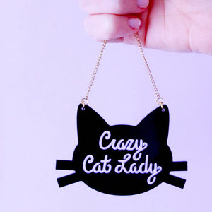 Vintage Jewelry Acrylic Laser cut jewelry Crazy Cat Lady Pendant Necklace Charming Christmas Gifts
