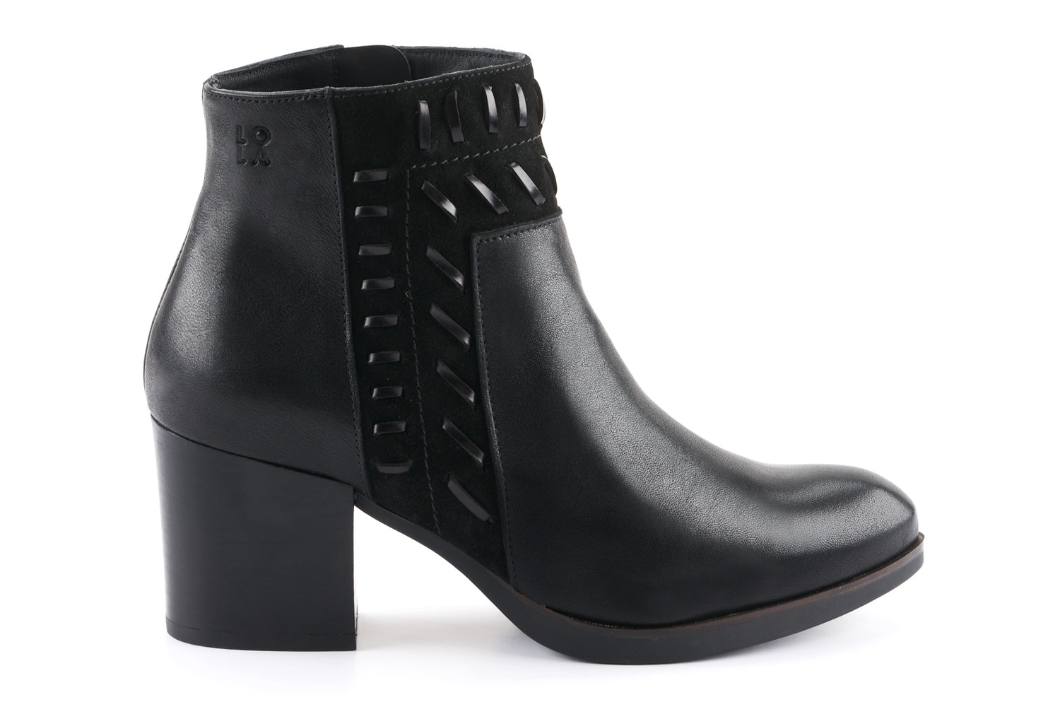 Sienna Leather Embellished Ankle Boot - Black