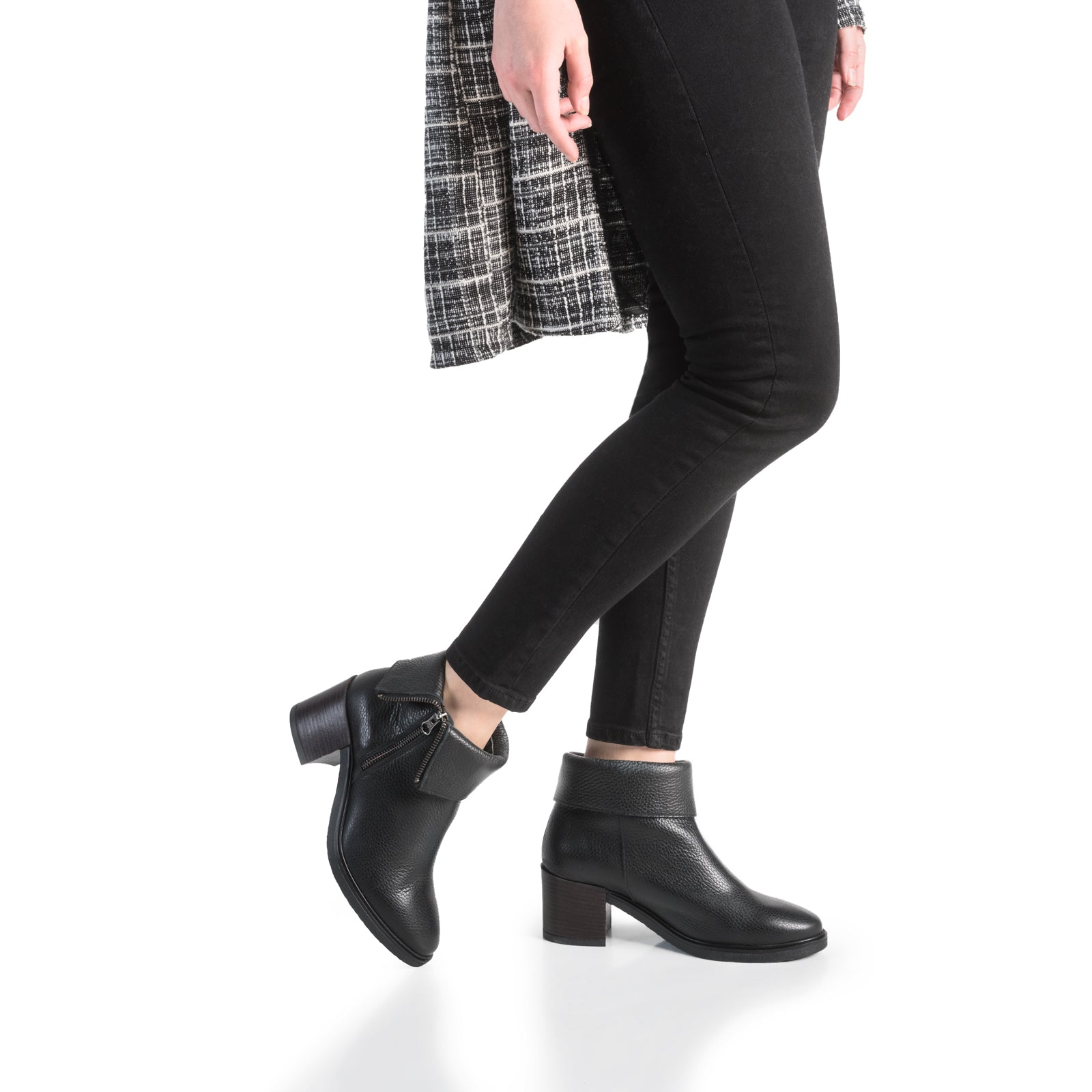 Ella Leather Fold-Over Ankle Boots - Black