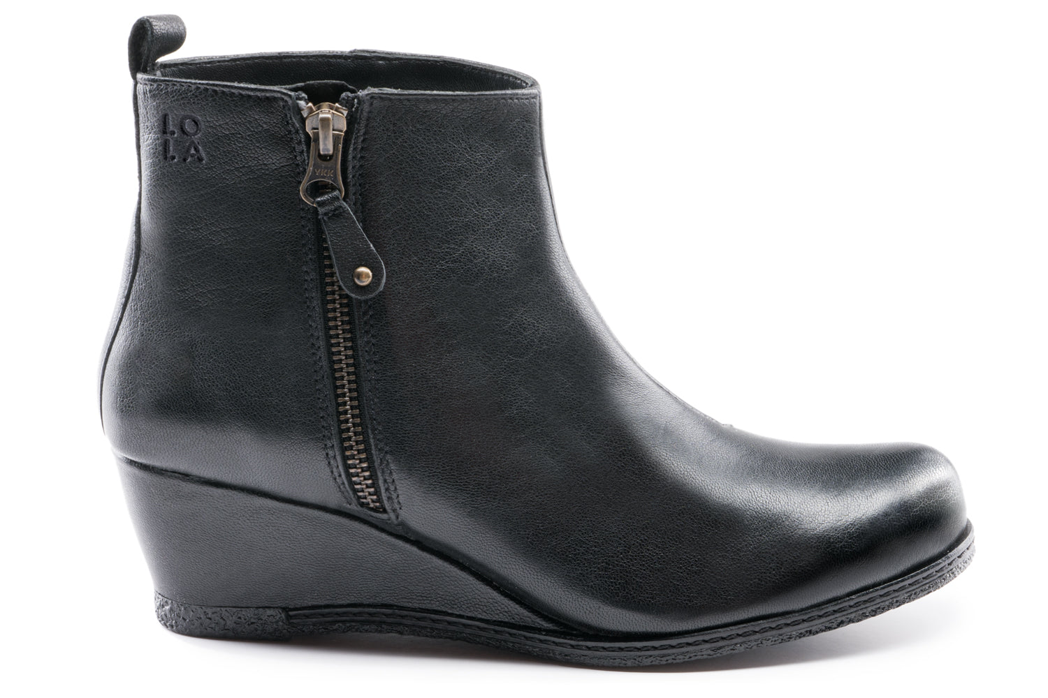 Grace Leather Wedge Ankle boots - Black