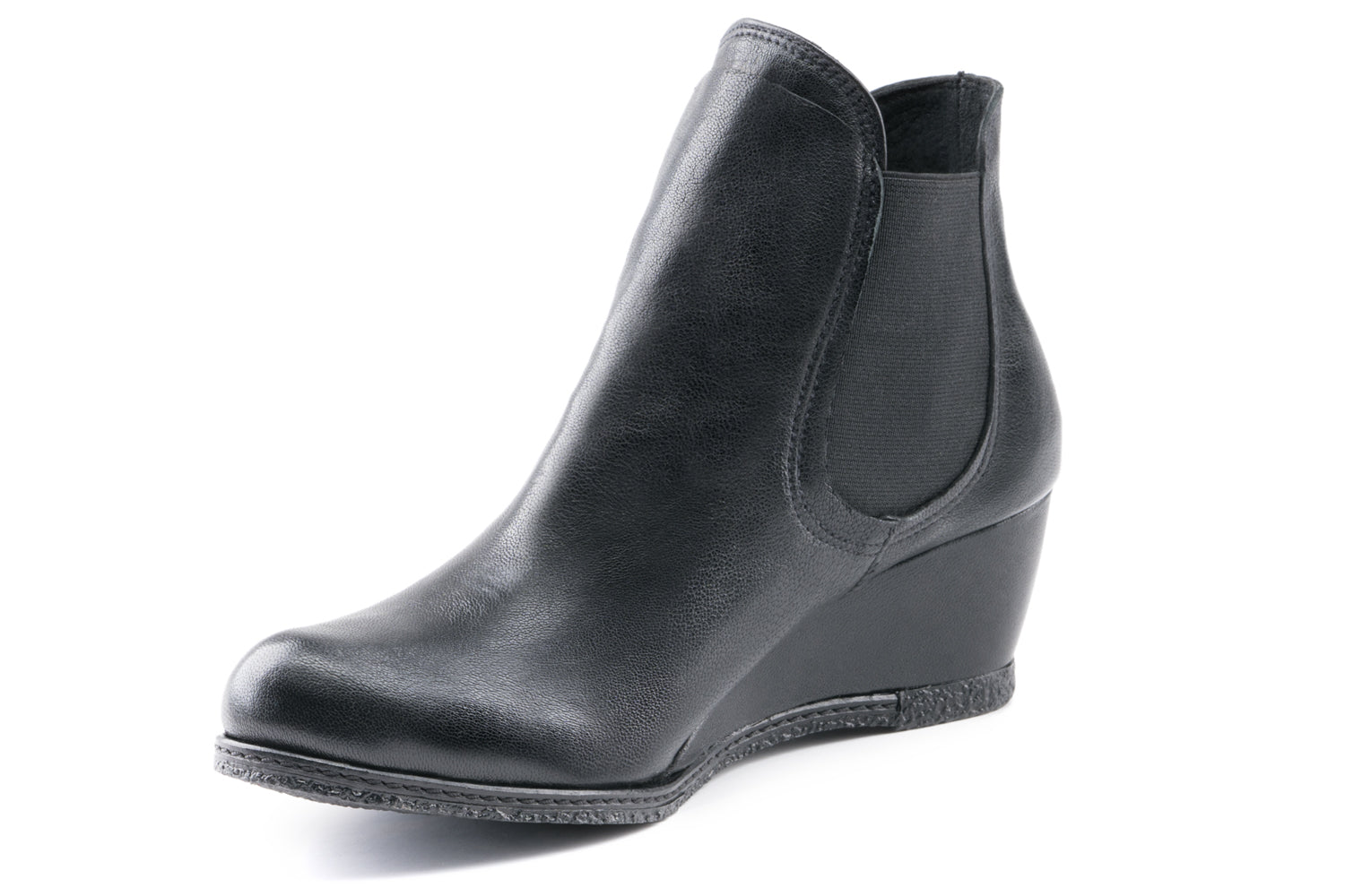 Mia Leather Wedge Chelsea boots - Black