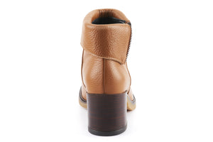 Ella Leather Fold-Over Ankle Boots - Caramel