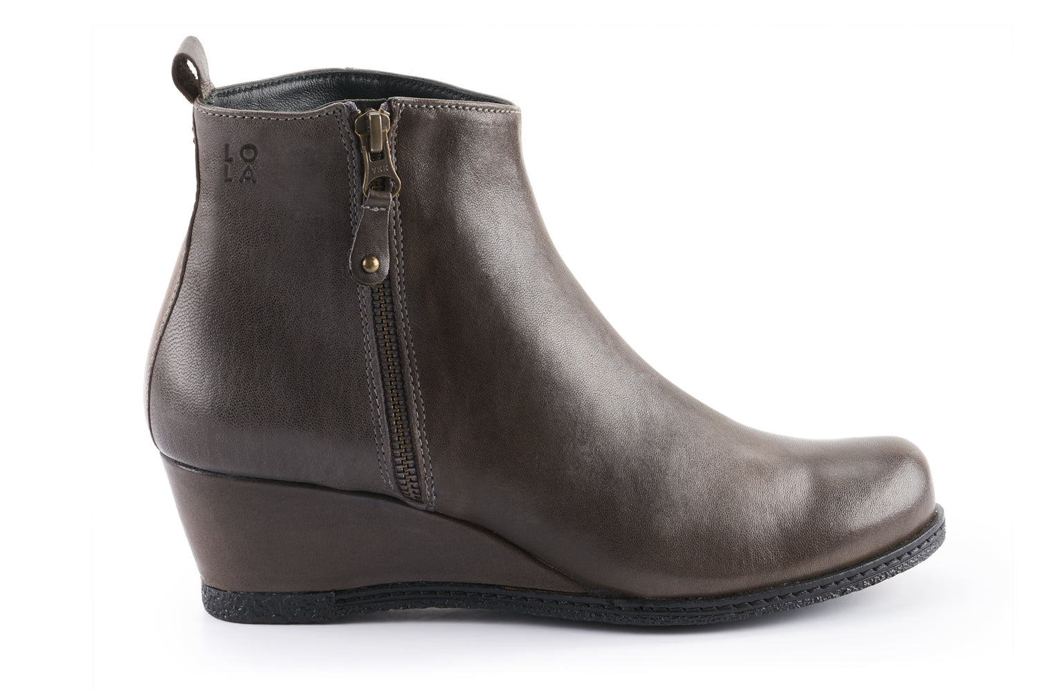 Grace Leather Wedge Ankle boots - Charcoal Grey