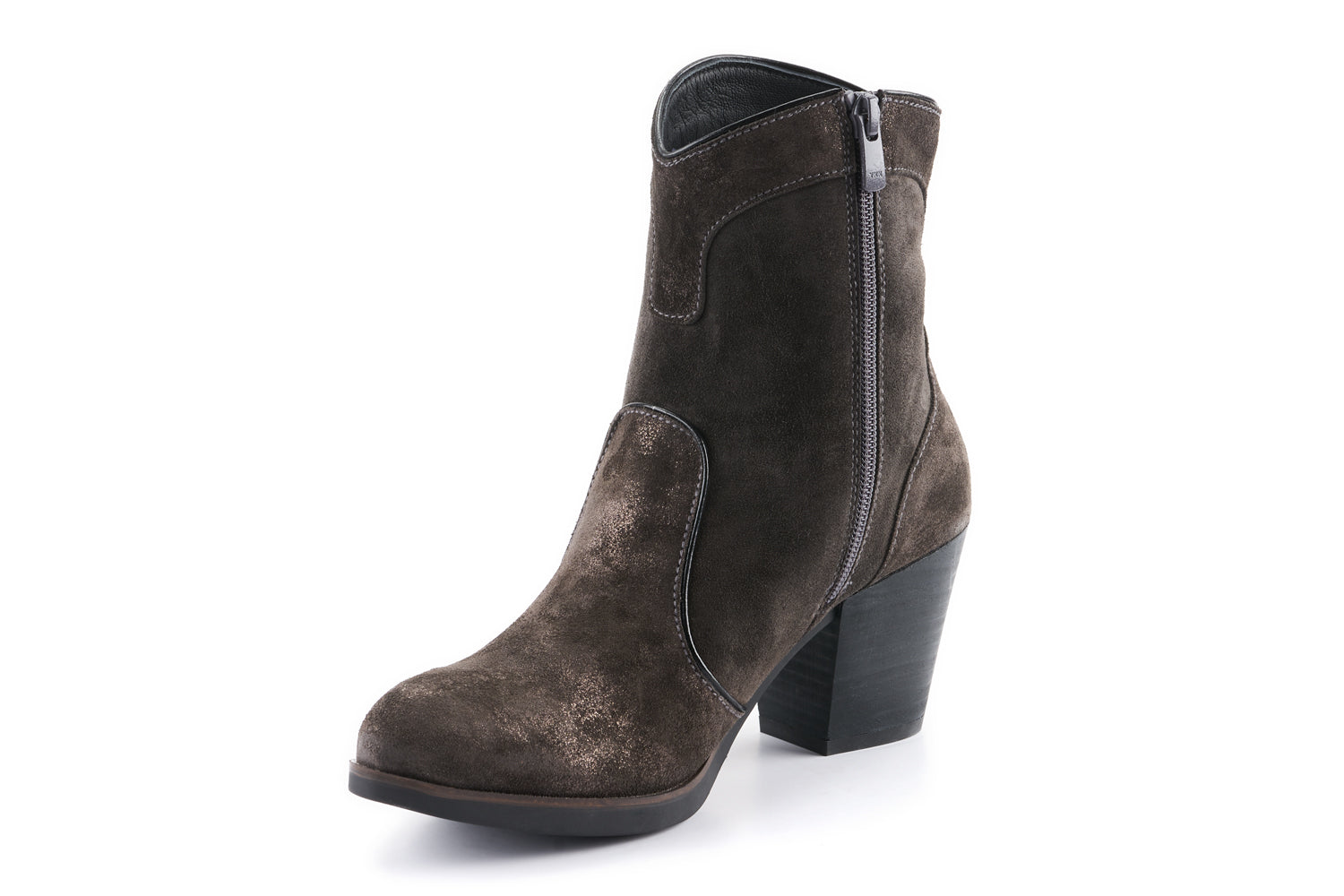 Darcie Leather Cowboy Boot - Charcoal Grey