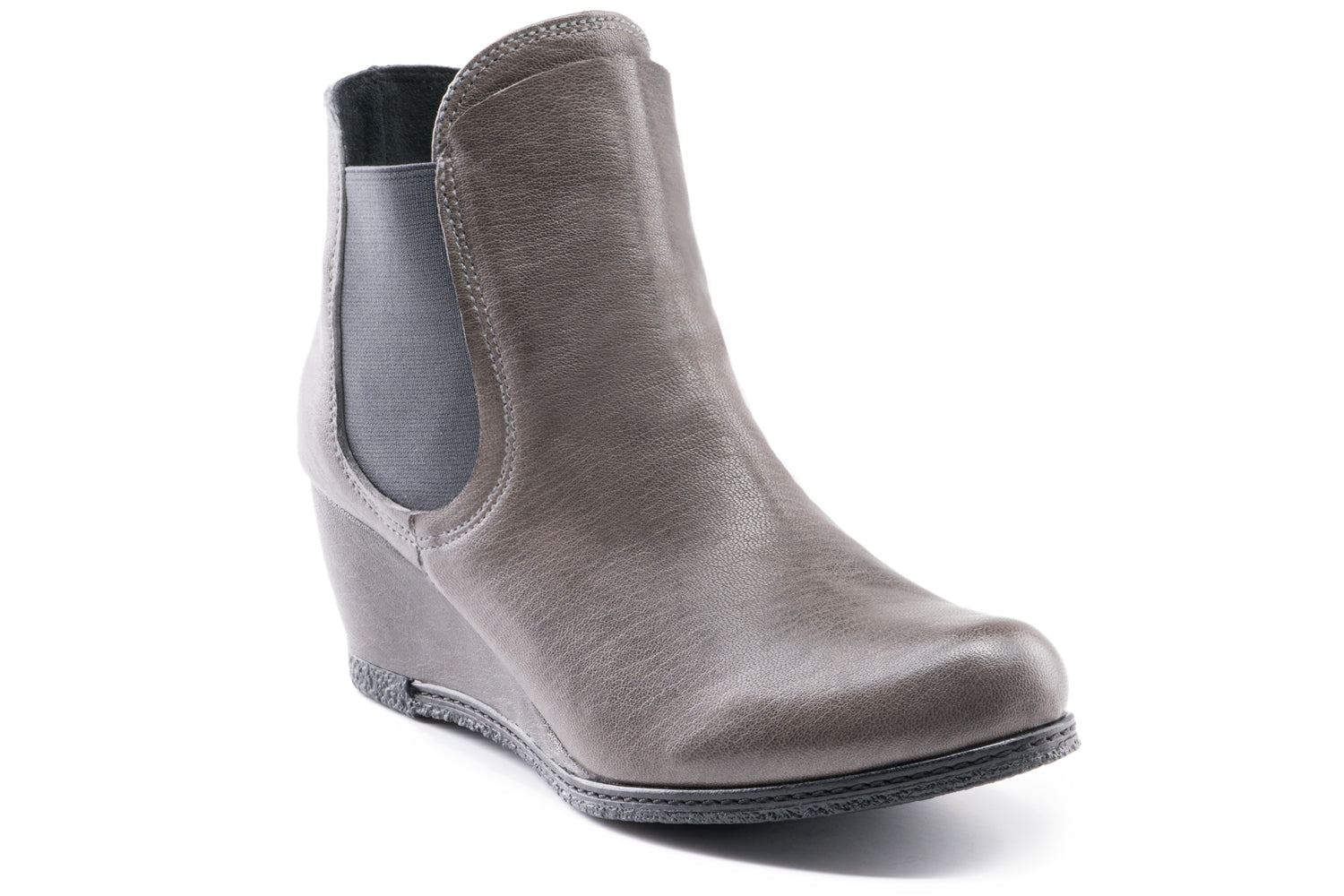 Mia Leather Wedge Chelsea boots - Charcoal Grey