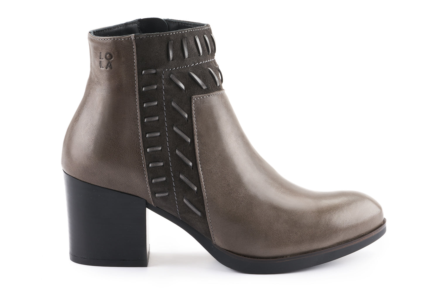 Sienna Leather Embellished Ankle Boot - Charcoal Grey
